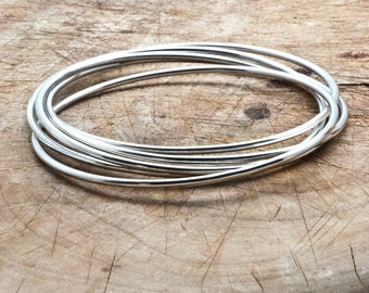 Stacking Bangle Bracelets, Bracelet Bangle Set, Wire Bangles, Sterling Silver 5 pcs Linked Bangles, Handmade Bangle, Connected Bangles Set