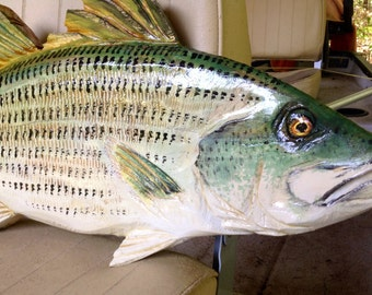 "Striped Bass 26"" wall mount chainsaw carved wooden faux taxidermy fish home decor lake lodge fishing retreat indoor outdoor bass sculpture"