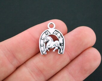 8 Horse and Horseshoe Charms Antique Silver Tone - SC3845