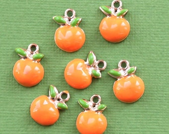 5 Oranges Charms Gold Plated Enamel Too Cute - E64
