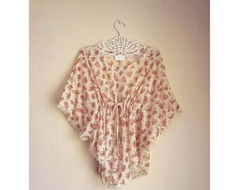 SALE Kaftan Autumn Harvest Pumpkin Orange Coral Rosebuds Crochet Flowy Hippie Bohemian Gypsy Moroccan Caftan Sheer Ethereal Dress y Tunic