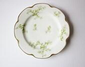 Vintage Haviland Plate - Limoges France Fine China - Edwardian Era Dessert Serving Plate - Scallop Edge Plate - Apple Blossom Floral Design