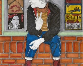 Little Skinhead - Drawing, Art, Illustration, Fashion, Portrait, Boy, Ska, Mix Media, Painting by Paul Nelson-Esch Free Worlwide Shipping