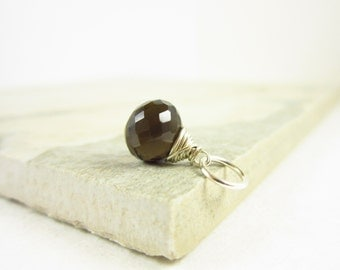 Smoky Quartz Gemstone Charm - Smokey Quartz Pendant - Sterling Silver Jewelry - Wire Wrapped Gemstone Jewelry - JustDangles Charms