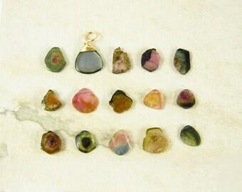 Sale - P3 CHOICE - Watermelon Tourmaline Pendant - Pink Tourmaline Jewelry - Green Tourmaline Slice - Healing Crystals and Stones - Stone Je