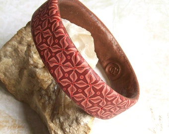 Boho bangle bracelet flowery tiles medium polymer clay bracelet in red and pink shades