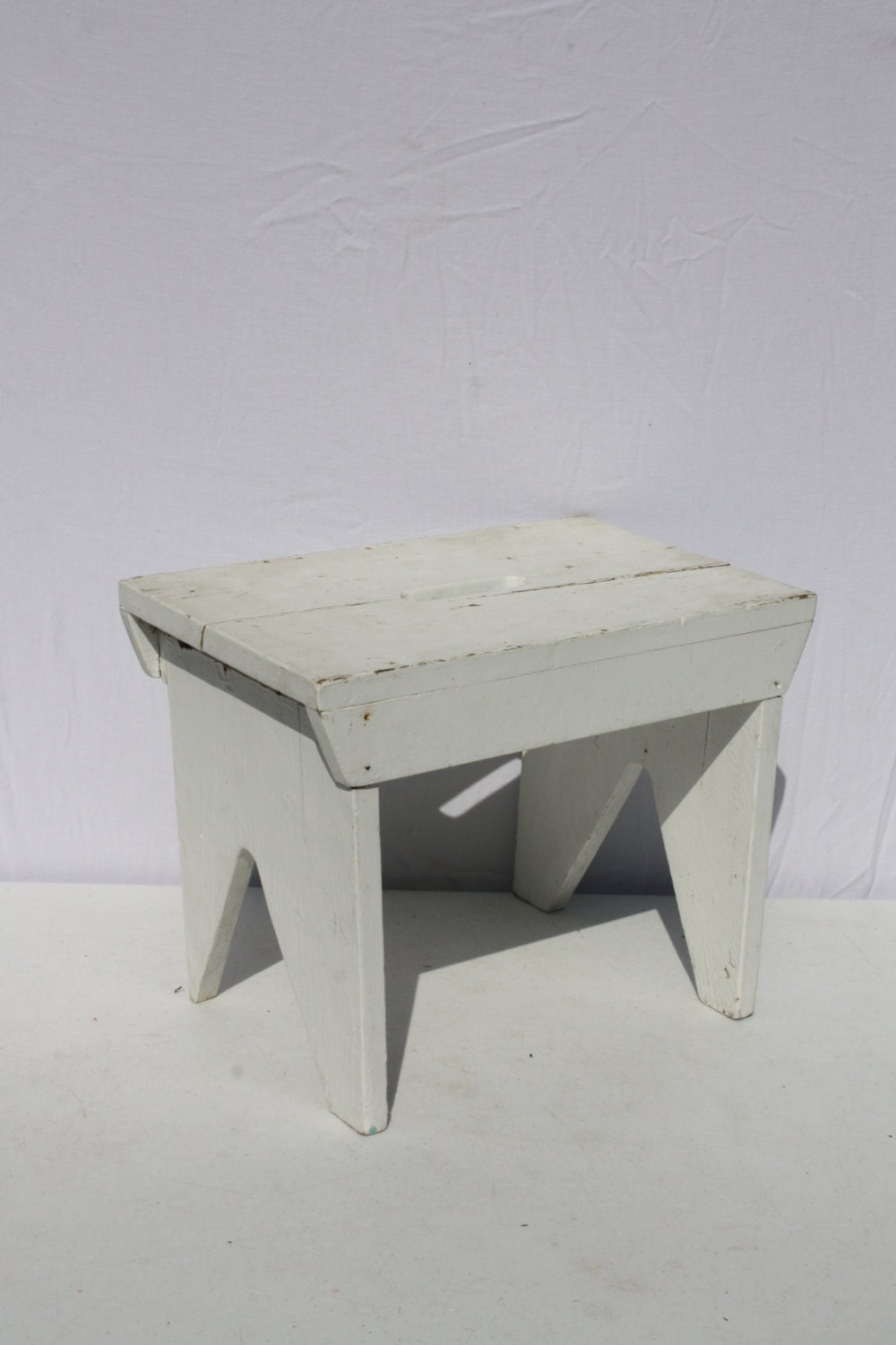 Vintage Wood Wooden Stool Bench Step Stool White By