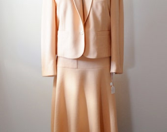 Vintage Sonia Rykiel Suit 1980s Summer Weight Wool Knit Suit in Peachy Pink Fab Skirt with Buttons and Matching Jacket Size Medium