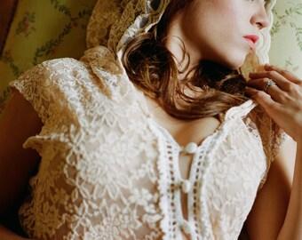 Ivory Beaded Rope Headband, bohemian cream color ivory beading forehead headband halo headpiece hair wreath tie on headband beaded halo 218