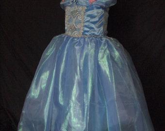 one of a kind CINDERELLA DREAM DRESS w/tiara sz. 6-7 blue girls cinderella dress w/ butterflies cinderella cosplay ball gown princess dress