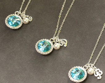 Bridesmaid Pearl Jewelry Set of 7, Sterling Silver & Swarovski Crystal, Blue Jewelry for Bridal Party, Bridesmaid Favors