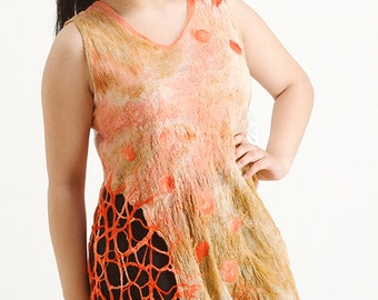 Summer Top, Orange top, silk top, Orange tunic, silk tunic, Nuno felted blouse OOAK wool, cotton  and silk felted Art to Wear
