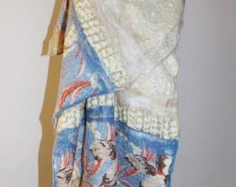 Felted scarf, Nuno felted shawl, Felted scarf, Nuno felted wrap, Merino wool shawl, Wool scarf, Wool wrap, Unique wrap, OOAK clothing,