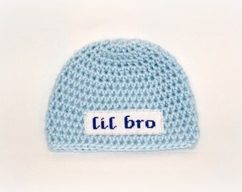 Crochet Baby Personalized Name Cross Stitch Beanie - Newborn to 3 months - Soft Blue - MADE TO ORDER