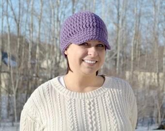 READY TO SHIP - Crochet Womens Chunky Newsboy Hat - Purple