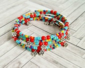 felicity rainbow colorful beaded memory wire bracelet, boho, hippie, bohemian, bangle,