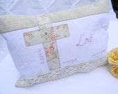 Personalized Wedding Pillow-Hand Embroidered Custom Linen Wedding Gift- Wedding Pillows