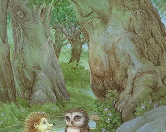 Prickles and Little Hoot 8.5x11 Signed Print
