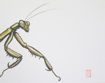 ACEO Mantis - Onwards - Insect Art Archival Print