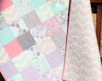 Shabby Chic Baby Girl Quilt, Cottage Style, Pastel Light Pink Aqua Grey White Purple Gray, Child Youth Crib Cot Bedding, True Luck Moda