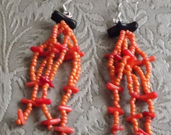 Fringe earrings with coral