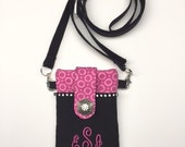 Cell Phone Case with Monogramming, iPhone Cross Body Bag with Bling, Smartphone Pouch, Fabric iPhone Case with Swarovski Crystals