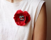 Red Poppy brooch felted flower brooch Weddings bridesmaid gift idea for her fashion