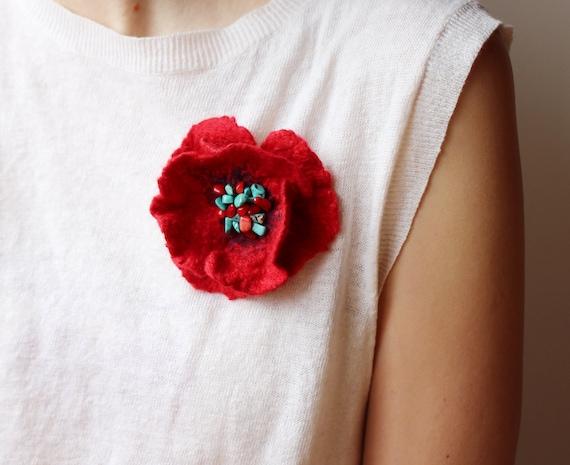 Red Poppy Brooch, Wool Flower Brooch, Turquoise Brooch, Christmas Brooch, Art Brooch, Bridesmaid Gift, Minimalist Jewelry, Designer Jewelry