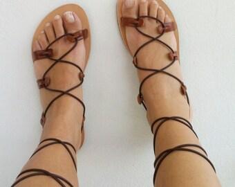 gladiator sandals, leather sandals, brown sandals, sandals
