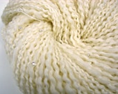Hand Spun Yarn WHITE PEARL with Glass Beads