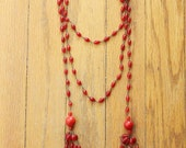 Antique 20's Art Deco Red Coral Glass Beaded Lariat Necklace