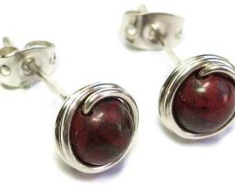 Red Jasper & Sterling Silver Post Earrings