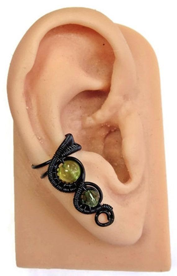 Peridot and Swarovski Crystal Goth Black Woven Ear Cuff