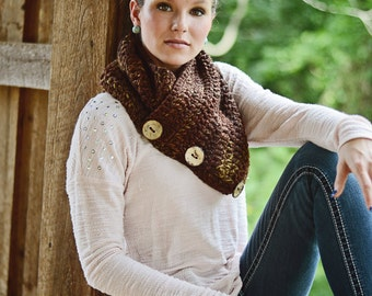Dakota Prairie Cowl | Women's Cowl | Fashion Scarf | Chunky Shawl | Warm Soft Button Cowl | Coconut Button Scarf | Stylish Soft Winter Wear
