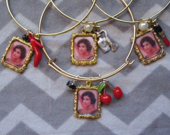 Audrey Horne inspired Bangle Bracelet w/ charm & bead. Available in 4 Styles.