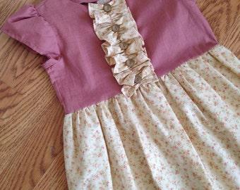 Made to order childrens 'English Rose' dress w/ brown leggings (w/o leggings 50)