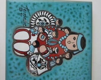 Teissedre Storyteller Art Tile -  Signed 1991 - Coaster Trivet or Wall Decor