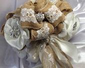 Burlpa wedding bouquet, Burlap and rhinestone bouquet, Rustic wedding, Burlap wedding, Rhinestone bouquet, Country bouquet, Wedding bouquet