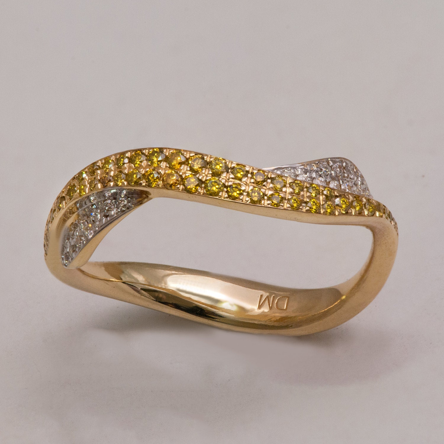 waves no 3 14k gold diamonds ring unique engagement ring