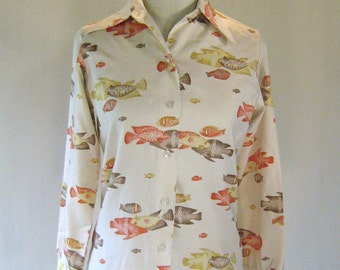 1970s Novelty Fish Print Pointed Button Down Collar Shirt
