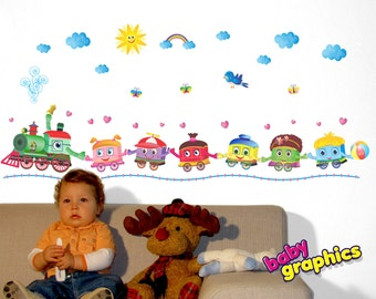 happy children train - locomotive with 6 railcars removable wall stickers - by babygraphics
