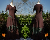Silver Stacia Outfit ~ Layered Faerie Skirt & Top ~ Cotton Jersey ~ Made to Measure ~ Festival Clothing ~ Woodland Wear ~ Faery Clothing ~