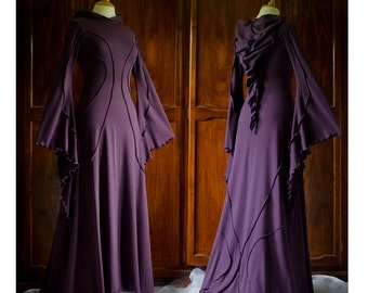 Savannah Desert Dress ~ Long Dark Purple Dress ~ Halloween Costume ~ Medieval Dress ~ Renfest ~ Handfasting ~ Wedding ~ Bridal Wear ~