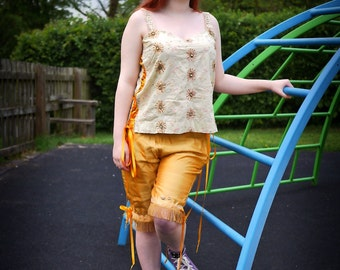 Gold silk bloomers. Circus, tribal fusion clothing, carnival or steampunk fairy costume. Yellow capri pants, shorts, cropped trousers.