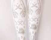 XL Pirate Tights Narwhals Extra Large Plus Size Silver on White Women Tattoo Sailor Anchor Lolita