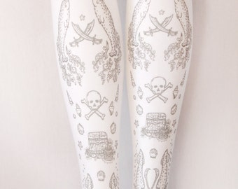 Pirate Lolita Tights Narwhals Extra Large Plus Size Silver on White Women Tattoo Sailor Anchor Street Style