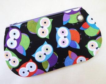 Owl Zipper Pouch, Zippered Pouch, Pouch, Handmade Pouch, Handmade Zipper Pouch, Owl Pouch