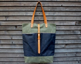 Tote bag in waxed canvas  with  leather handles and double waxed canvas bottem COLLECTION UNISEX