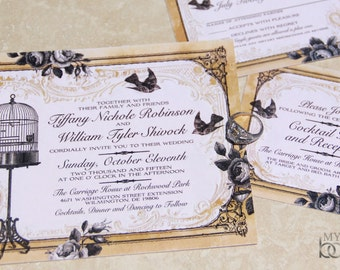 NEW! Vintage Bird cage and sparrow Wedding Invitation Set. Lovebirds Wedding Invitations.