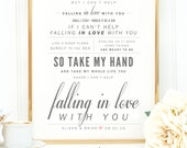 """Ingrid Michaelson / Elvis Presley """"Can't Help Falling in Love"""" - Valentine's, Wedding Gift, Cotton, Paper Anniversary Gift, Song Lyrics"""